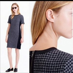 J.Crew Mixed Wool Houndstooth Leather Trim Dress